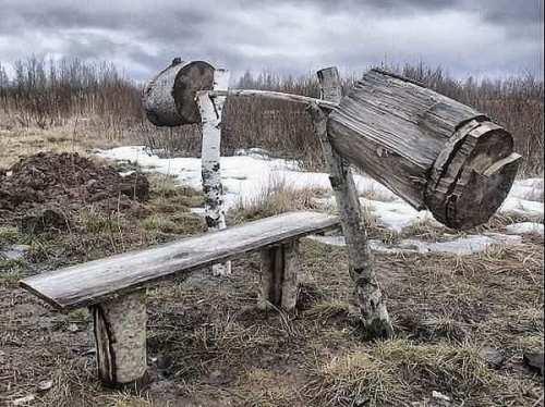 фотография суровой русской лавки для жима и штанги