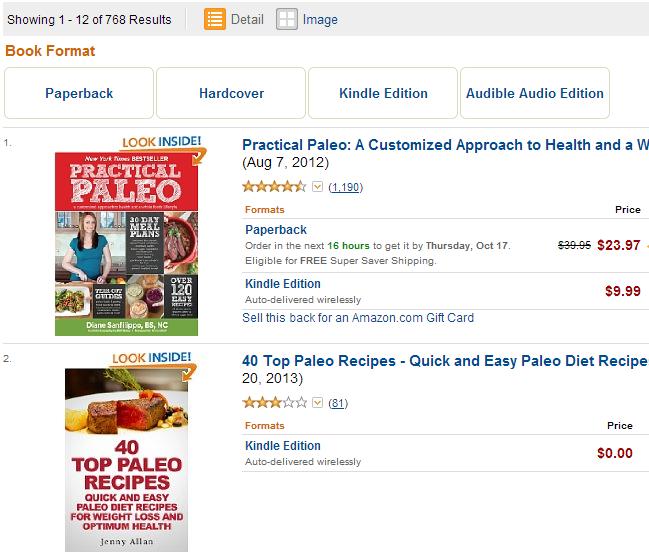 книги в Amazon  про палеодиету
