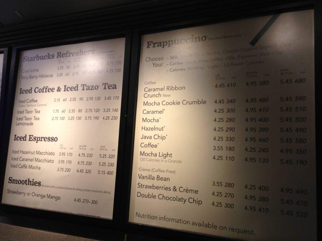 таблица калорийности еды в старбаксе