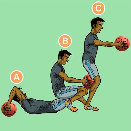 Медбол. Упражнение 1