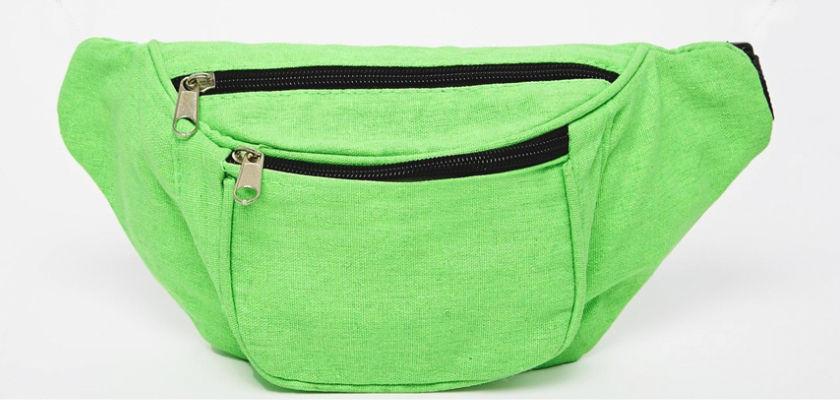 asos сумка на пояс зеленая