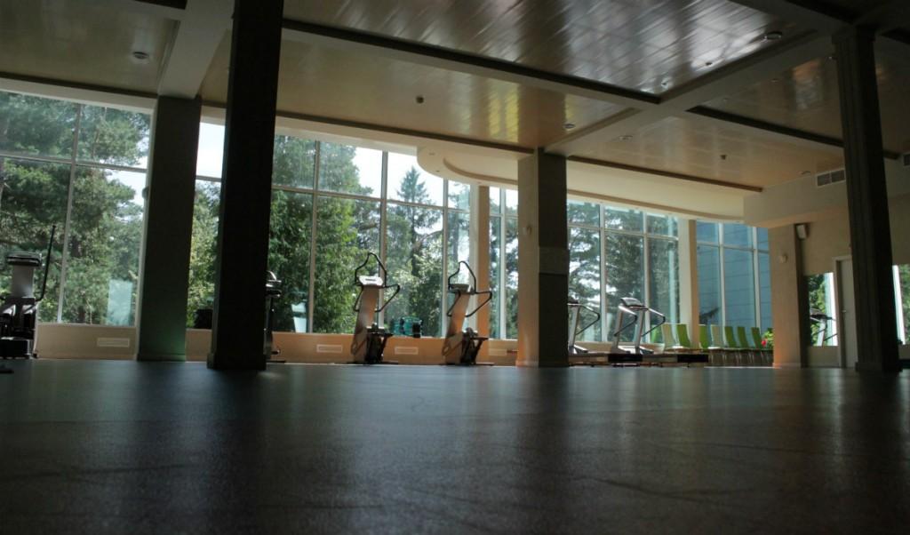 Спортзал тут просто огромных размеров - помещение подойдет хоть для танцев, хоть для йоги человек на 50.