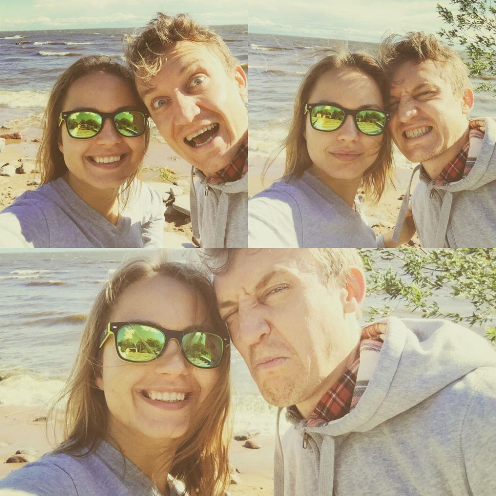 """А это мы с Юлей на заливе после """"нырялок""""."""
