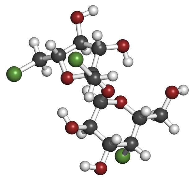 Молекула сукралозы. Сукралоза не встречается в природе - этот элемент синтезируют химическим путем из сахара.