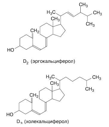 Формулы витаминов D2 и D3