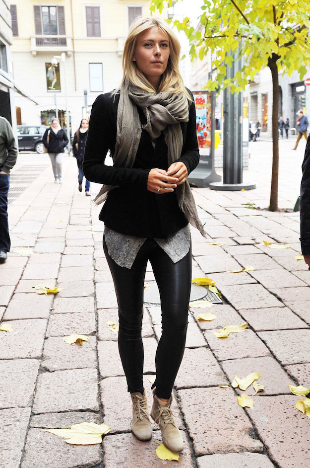 MARIA SHARAPOVA in Leather Pants