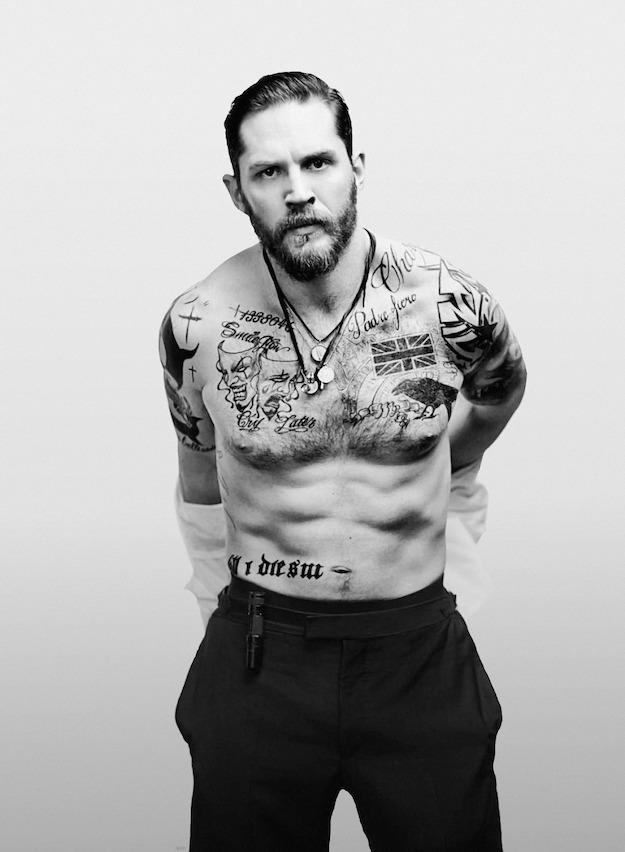 том харди, борода, татуировки, фотосессия для журнала эсквайр