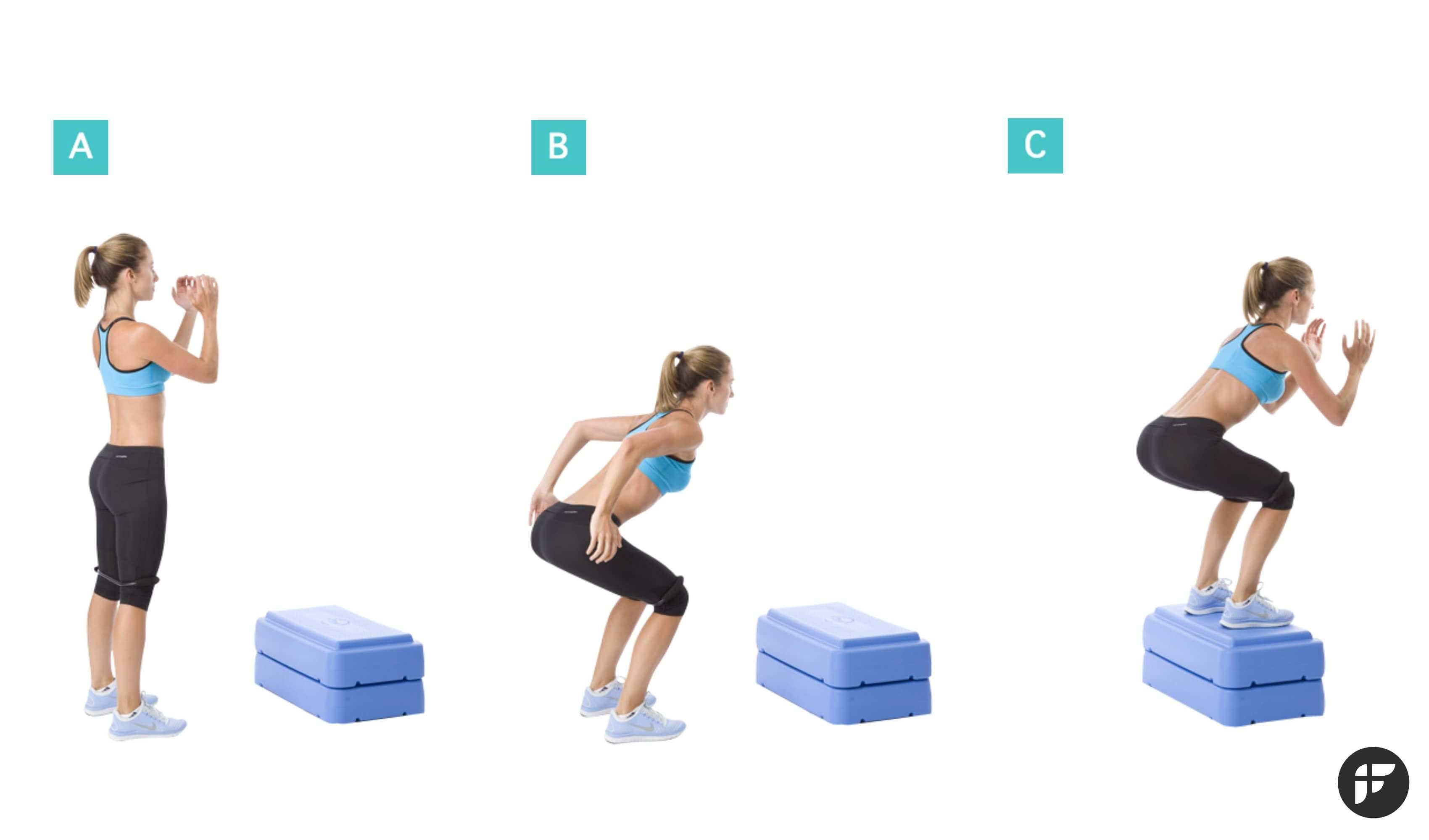 прыжки на ящик с контролем коленей