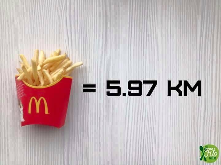 картошка фри и количество километров для пробежки