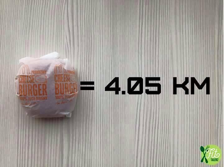 бургер и количество километров которое необходимо пробежать