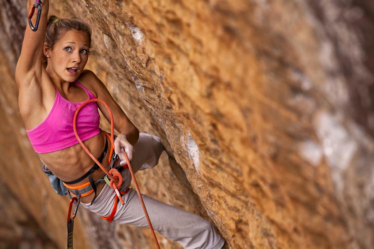 Sasha DiGiulian rock climbing in the Red River Gorge Kentucky, USA.