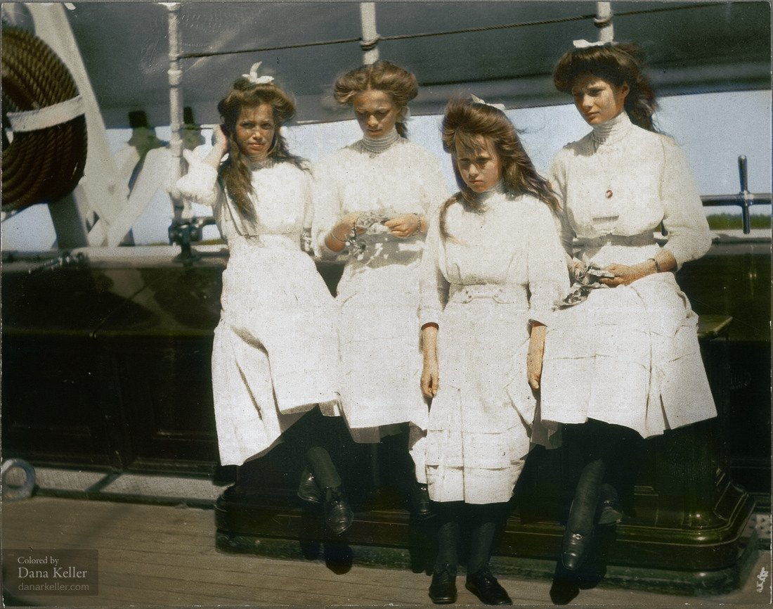 Великие княжны Мария, Ольга, Анастасия, Татьяна, 1910 год