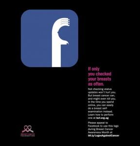 """""""Если бы вы проверяли свою грудь также часто, как социальные сети"""" - социальная реклама за диагностику рака груди."""