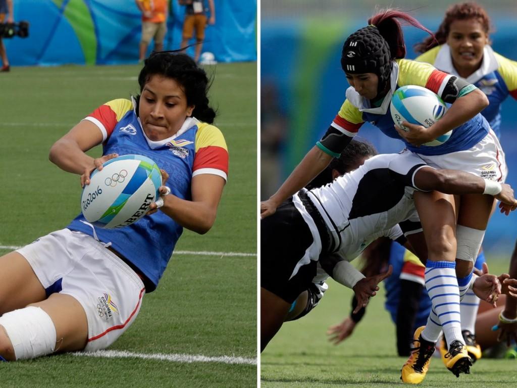 Шэрон Ачеведо (слева) и ее младшая сестра Николь играют в регби за Колумбию.
