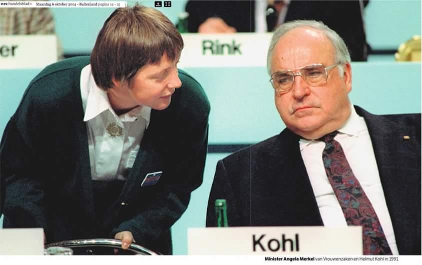 Ангела Меркель и Гельмут Коль. 1991 год