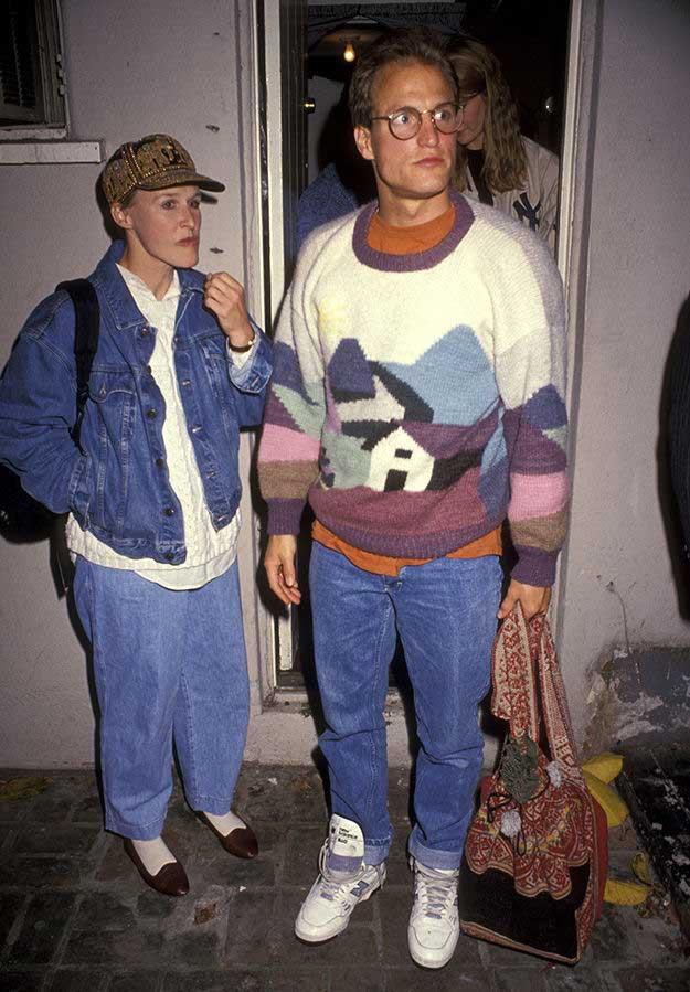 Гленн Клоуз и Вуди Харрельсон на вечеринке, 1991, Лос–Анджелес