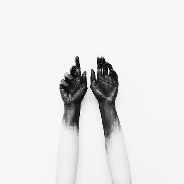 black paint hand
