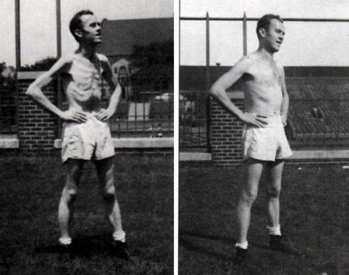 Дэн Миллер во время периода голодания (слева) и после (справа)