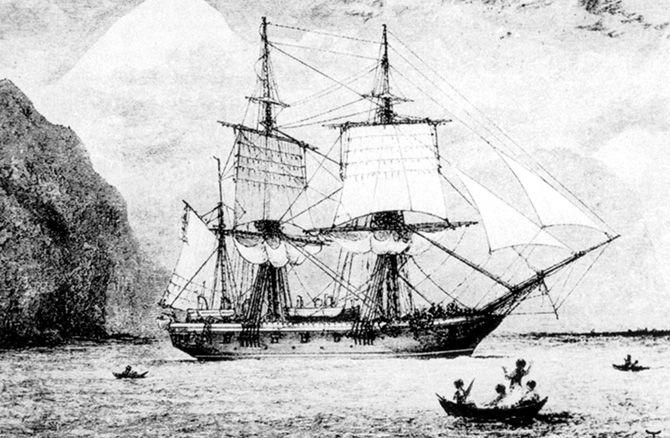 Корабль «Бигль», на котором Дарвин совершил кругосветное путешествие.